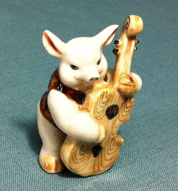 Miniatures en céramique cochon porcelet porc jouer musique guitare Animal mignon petit rose brun Figurine Statue décoration artisanat collectionner peintes à la main
