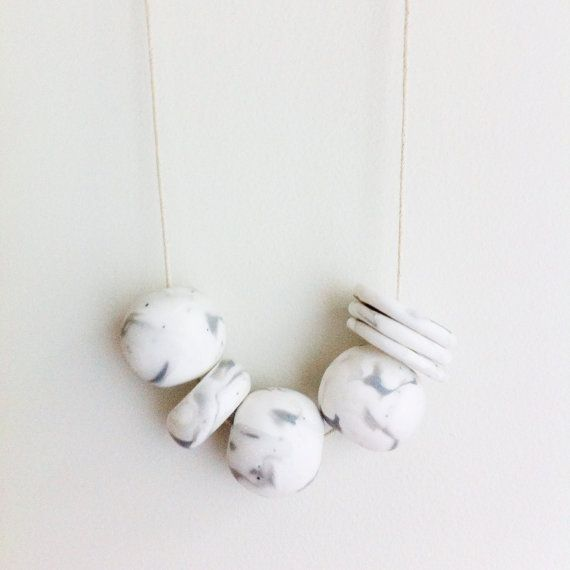 Ivory Marble  Handmade Polymer clay Necklace 7 by onthedotdesign