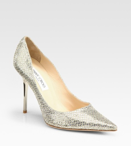 Jimmy Choo Silver Abel Glittercoated Leather Pumps