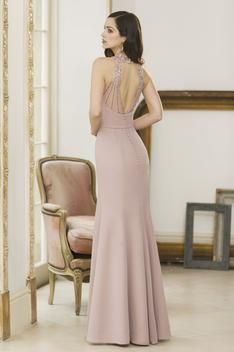 This glamorous halter-neck bridesmaid dress is new to our Spring/Summer 2018 collection. With a low scooping back line featuring a unique key hole detailing. This dress also featured our fit and flare silhouette that aims to shape the body into a stunning hourglass.
