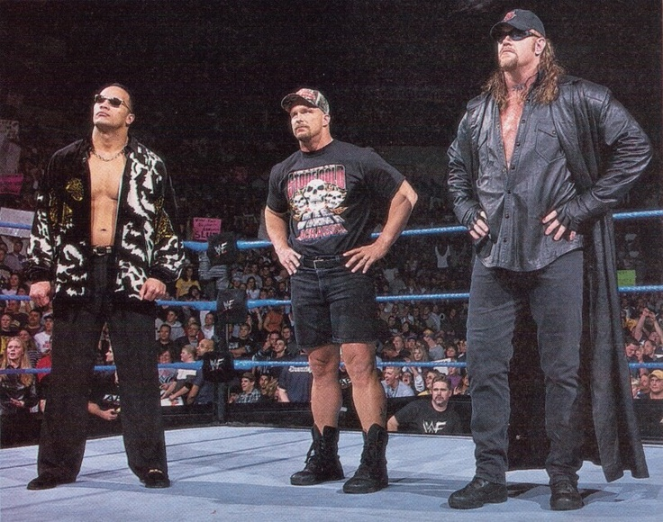 WWE Attitude Era The Rock, Stone Cold Steve Austin and the Undertaker