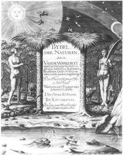 Het Boeck der Natuere  1575-1715 Integendeel van wat veel mensen dachten waren de wetenschappers uit de 17e eeuw vaak wel gelovig. Ze combineerden geloof en wetenschap. Het Boeck der Natuere werd naast de Bijbel als het grote boek gezien. Door goed te observeren, te redeneren en de natuur te bestuderen leerde je god en het scheppingsverhaal kennen.