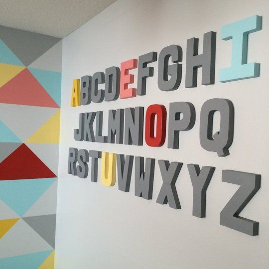 3D alphabet letters painted to coordinate with adjacent mural