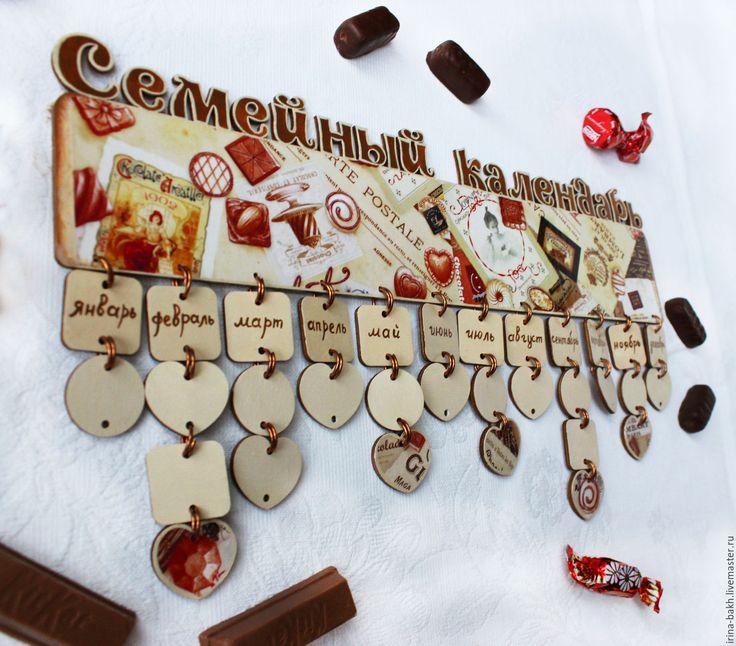 """Купить Семейный календарь дней рождения """"Шоколадница"""" - коричневый, календарь, календарь ручной работы"""