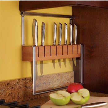 Backsplash Railing Systems - Hafele Propri Knife Holder With Beech Wood Knife Block | KitchenSource.com