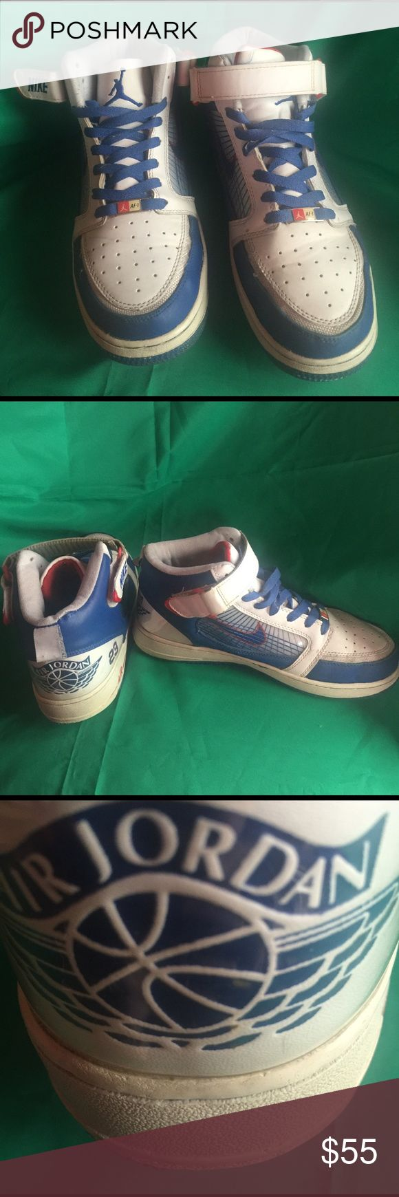 Men's Nike Air Jordan AF-1  23's basketball shoes. Men's retro Nike Air Jordan AF-1  23's blue/white/red colored basketball shoes size 8 1/2. In great condition. Not to many left, difficult to find. Any questions please feel free to contact me. Nike Air Jordan AF-1 23's Shoes Athletic Shoes
