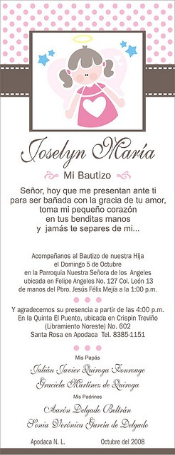 Invitacion Bautizo wording
