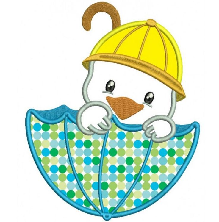 Little Duck Sitting Inside Big Umbrella Applique Machine Embroidery Design Digitized Pattern