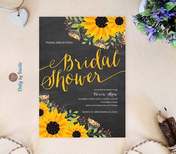 Chalkboard Sunflower bridal shower invitation printed on premium paper | Fall wedding shower invitations | Cheap bridal shower invitations