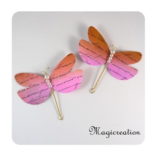 PINCES RIDEAUX LIBELLULES ROSE-ORANGE 1508 - Boutique www.magicreation.fr