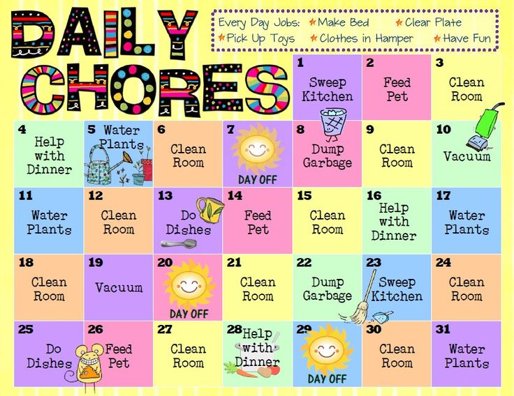 Monthly calendar with a different chore each day to help out.  It never occurred to me to have a different chore instead of the same ole' one every night.Interesting! I also like the day off.