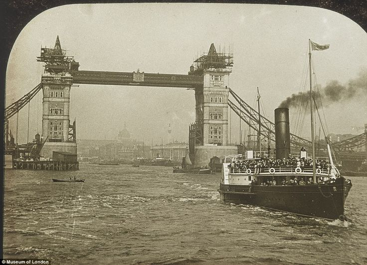 Under construction: A rare snap of Tower Bridge in London as it was being built. Although it looks medieval, the bridge is actually Victorian and opened in 1894.