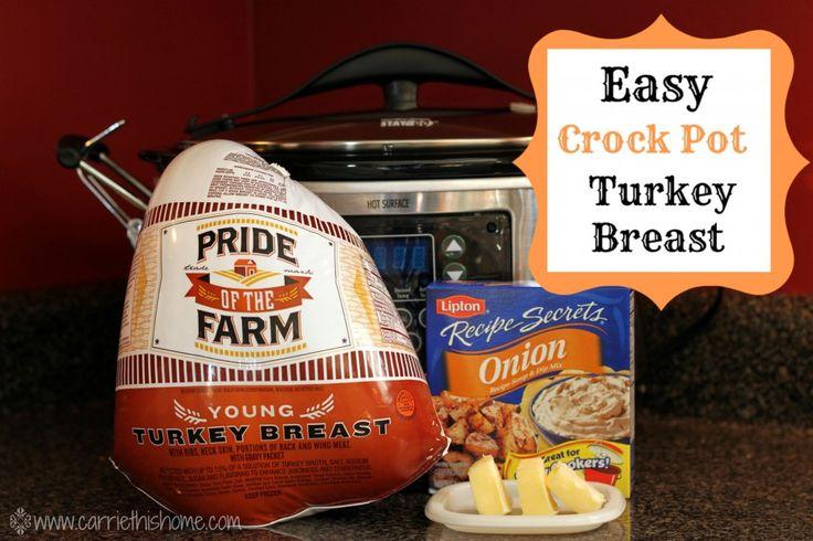 Easy Crock Pot Turkey Breast! Only 3 Ingredients = moist & flavorful turkey!!