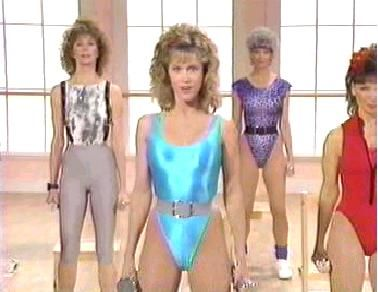 '80s workout mania..Jane Fonda..did this with my mom in front room with curtains shut lol