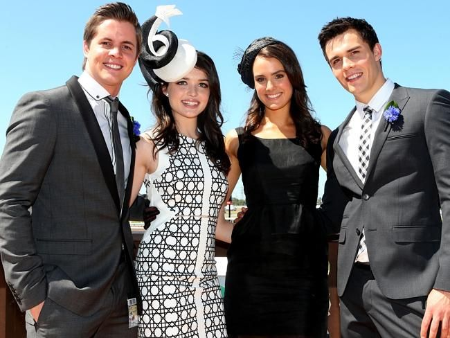 Johnny Ruffo Cassie Howarth Phillipa Northeast and Andres Morley| Derby Day Celebrities | The Australian
