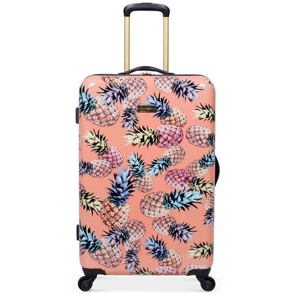 "Jessica Simpson Pineapple Hardside 25"" Spinner Suitcase ($280) ❤ liked on Polyvore featuring bags, luggage and blush"