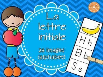 Lettre initiale 2 - jeu d'association/alphabet/lettres. La lettre initiale - activité pour choisir la première lettre de l'image donnée. Centre de littératie pour travailler les lettres et les sons initiaux.