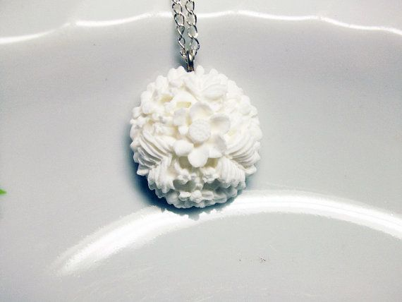 white crest with flowers necklace by rabbitsillusions on Etsy