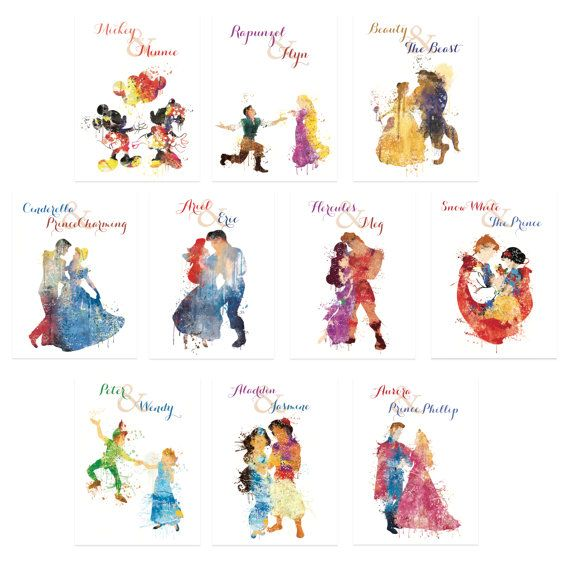Disney couple wedding table numbers.  Choose your size: 4x6, 5x7 or 6x8  Price includes all 10 table numbers. Browse our full collection here: