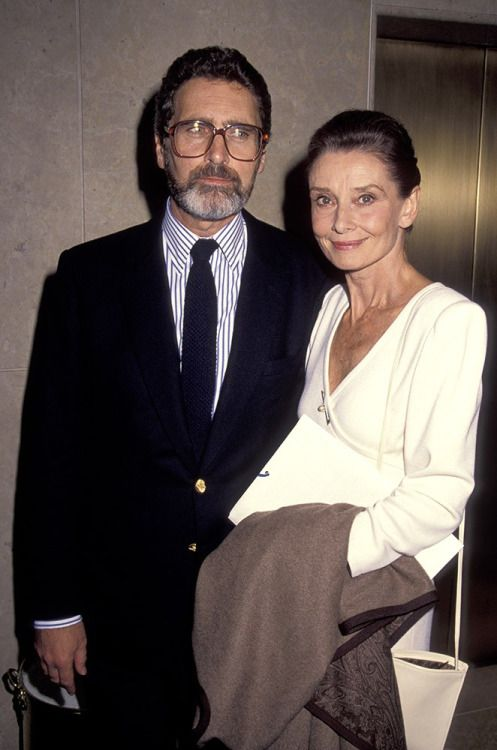 Audrey Hepburn and Robert Wolders attending the International Women's Forum, October 1990.