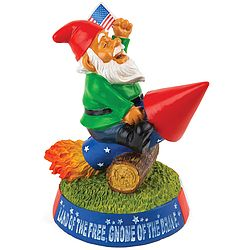 Patriotic Rocket Garden Gnome  Not your conventional garden variety gnome!  Sitting astride a fireworks rocket, this flag-waving little daredevil aims for the sky as he celebrates the good old USA!  Durably crafted to withstand the elements, so he's equally at home in your garden, backyard, or indoors on your collectibles shelf. $17.99