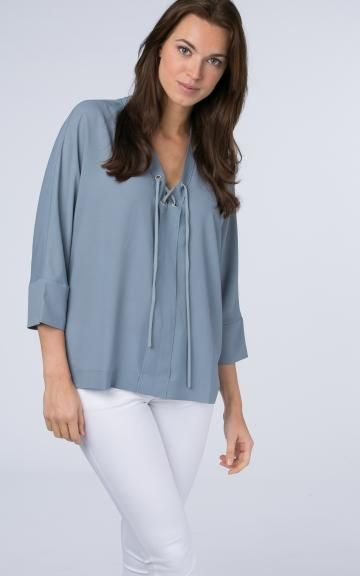 Lace-up batwing blouse by @repeatcashmere #blouse #ss2017 #spring #springcolour #babyblue #lightblue #laceup #oversized #loose #batwing