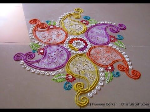 Beautiful free hand rangoli | Creative rangoli design | Poonam Borkar rangoli designs - YouTube