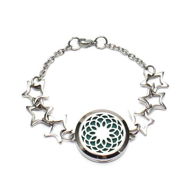 Free Shipping Fashion Bracelet 316L Stainless Steel Hollow Perfume Locket Bracelet Aroma Diffuser Locket Bracelet With Pads