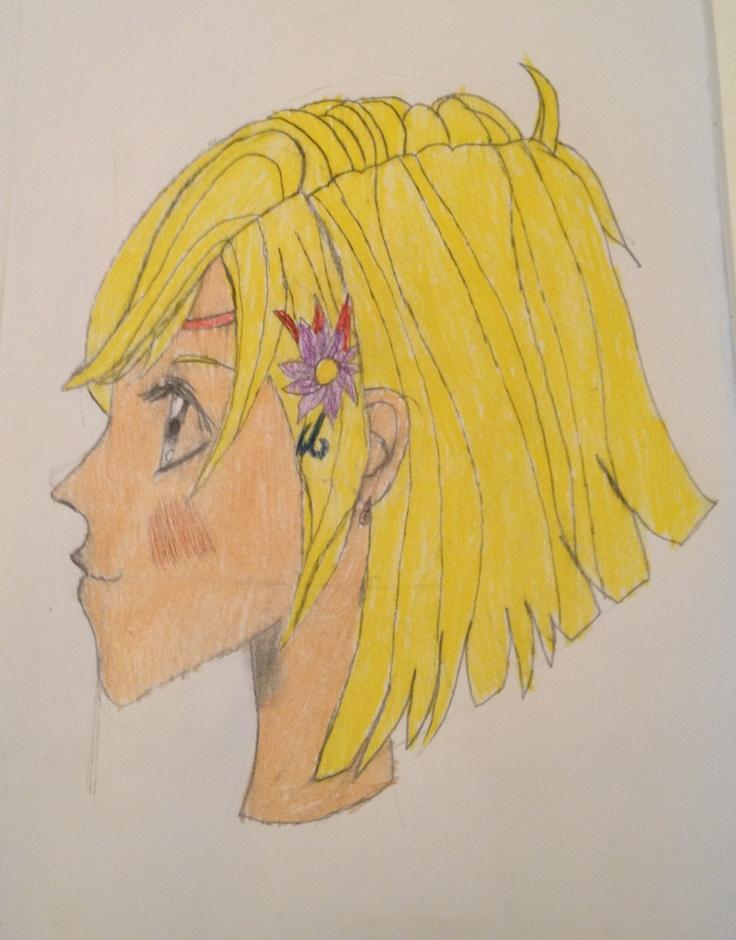 Manga-jente. Tegnet av fra Manga-boken. Blyant og fargepenn.