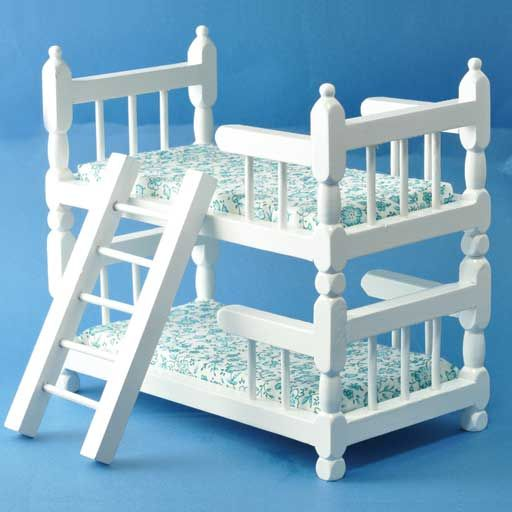 White Wooden Bunk Beds with Ladder