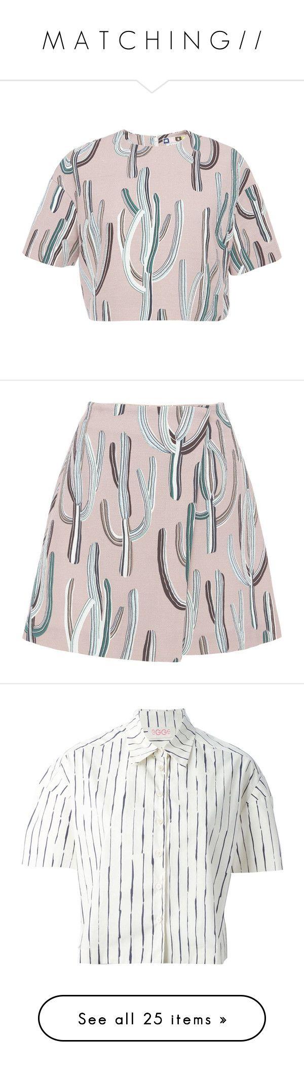 """M A T C H I N G / /"" by queen-laureen ❤ liked on Polyvore featuring tops, crop top, shirts, pink multi, short sleeve crop top, pink shirts, cactus print shirt, cropped tops, cotton shirts and skirts"