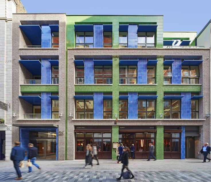 Carnaby Court by Rolfe Judd. Blue & green lava cladding by Pyrolave UK