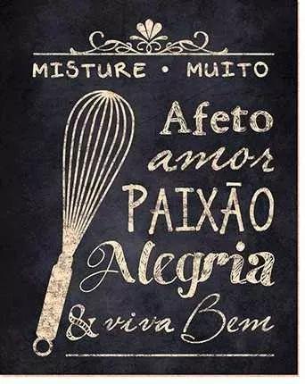 placa decorativa mdf paixão cozinha - retrô vintage dhpm-019