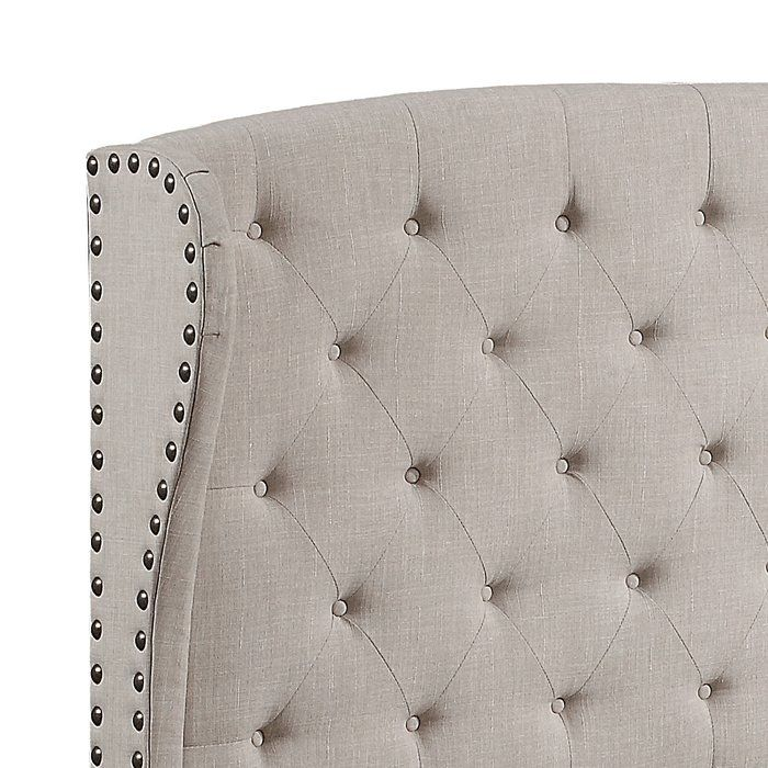Inspired by wingback theme, Nielsen headboard is a vintage beauty with a bit of modern magic and sophistication. Its elegant silhouette is wrapped in sumptuous linen to whisk you away in irresistible softness. The headboard features hand-applied tufts punctuated by matching fabric covered buttons. An exquisitely arc features with three hand foldings shows on the adhere two wingbacks, it's also complemented by single piece nailhead detailing and same fabric wrapped headboard legs all the way…