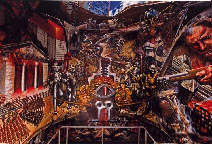 Mural RETRATO DE LA BURGESÍA de Siqueiros en el Sindicato Mexicano de Electricistas, Antonio Caso, Ciudad de México (detalle)