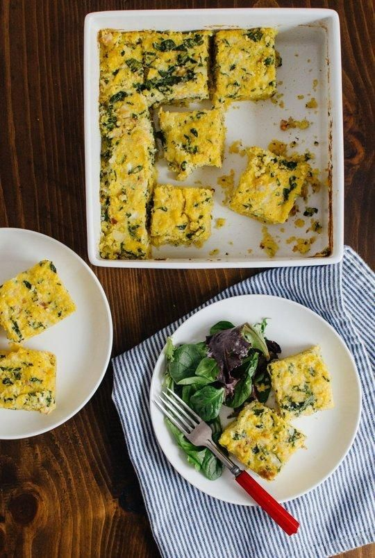 #Recipe: Breakfast Polenta Squares with Spinach  Bacon