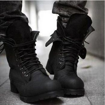 Combat laarzen winter warme retro engeland- stijl modieuze mannen korte zwarte schoenen, militaire laarzen- gratis verzending