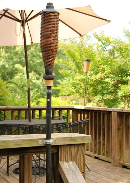 Ive been looking for something like this. Would be great along the back edge of the deck and make me less nervous when we use the tiki torches when the kids are out back. Easy Way to Secure Tiki Torches @ DaisyMaeBelle