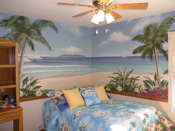 tropical bedrooms interior decorations with beach wallpaper theme