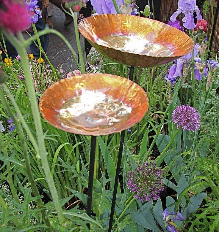 Copper Chalice Garden Bird Bath Sculpture