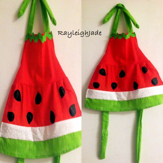 Motherdaughter matching watermelon apron set by RayleighJade, $45.00