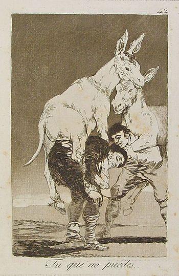 """El aguafuerte """"Tú que no puedes"""" es un grabado de la serie Los Caprichos del pintor español Francisco de Goya. Está numerado con el número 42 en la serie de 80 estampas. Se publicó en 1799."""