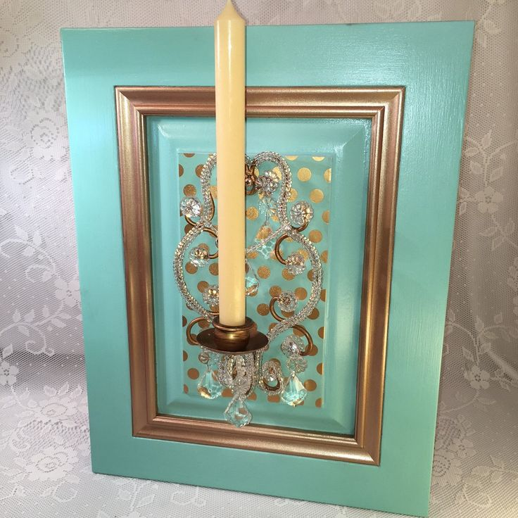 """Fun and Funky Wall Decor **FREE Shipping**. Here you have it! A funky and fun wall hanging for your unique home. The old fashioned crystal candleholder with bronze accents is set off by the bold turquoise background. Polka dots bring the fun character to life. Maybe you have seen this syroco candleholder before at grandma's house - but this is something different and new. Take it home or give as a gift to your eclectic friend and it is sure to bring a smile :-) ~~ Measurements: 18""""t x 14""""w…"""