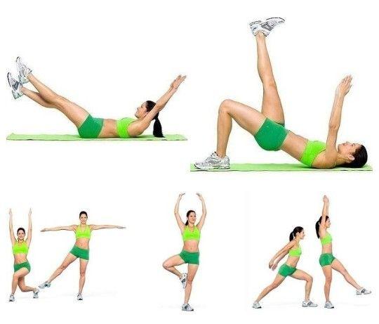 """5 простых, но очень эффективных упражнений для плоского живота.  Динамичная и эффективная техника для тренировки живота, спины, ягодиц и ног.  1. ИП: ляг на спину, подними ноги и согни под углом 90 градусов.  Раз: помести руки за голову и подайся вперед, оторвав спину от пола.  Два: выпрями ноги по диагонали вверх, скрести, выпрями руки над головой. Выполни ногами движение """"ножницы"""", поочередно скрещивая одну ногу с другой. Выполни упражнение 8 раз.  2. ИП: ляг на спину, колени согнуты, ноги…"""