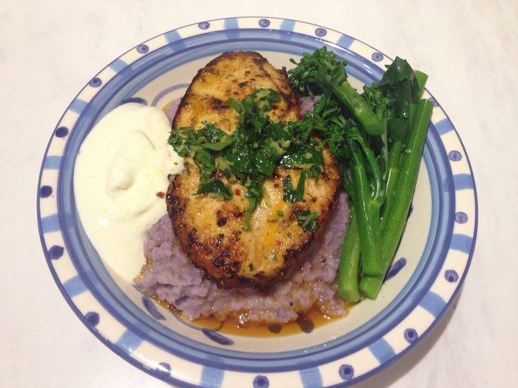 Chili chicken w purple sweet potato & cauliflower mash, Broccolini and sour cream x