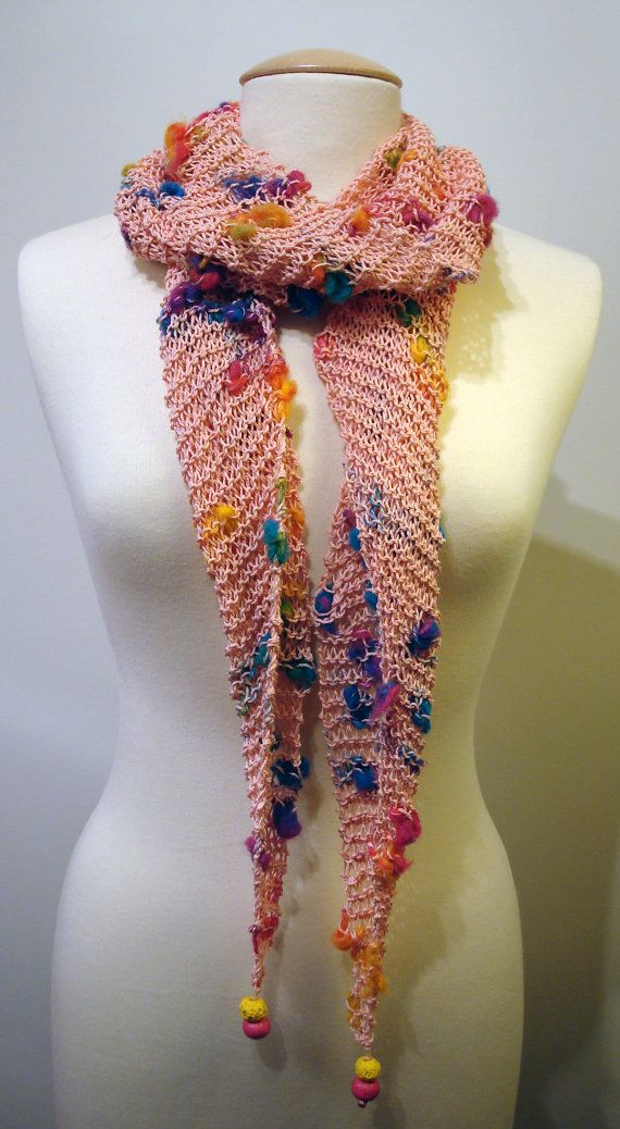 Handmade pink skinny cotton skinny scarf with multicolored bits and beads