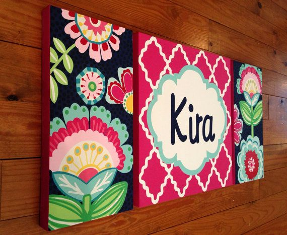 large nursery art- personalized painting- M2M PBteen papercut floral bedding- pink navy aqua on Etsy, $275.00