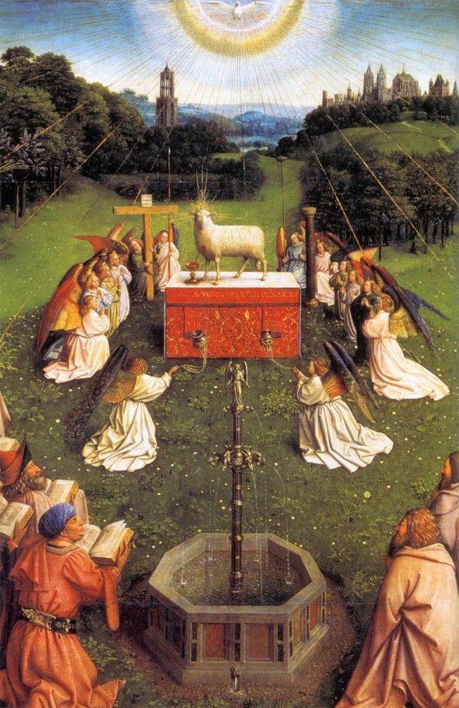 Хуберт ван Эйк, Ян ван Эйк. Центральная часть «Гентского алтаря» («Поклонение мистическому агнцу»).