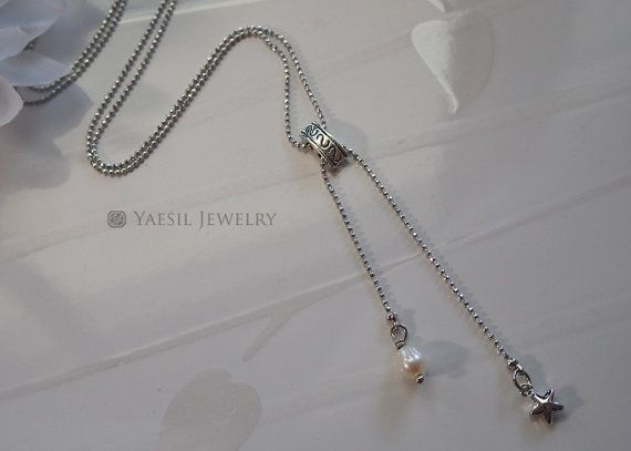 Tiny Star and Pearl Necklace Y-type Necklace Thin by YaesilJewelry
