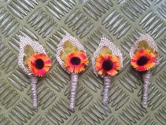 Set of 4 fall wedding boutonnieres, rustic autumn wedding decor, rustic wedding boutonniere